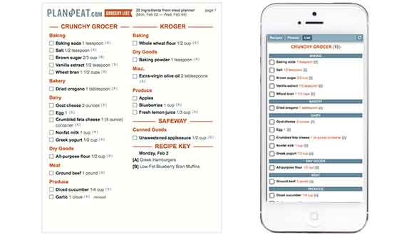 meal planner and grocery shopping list maker plan to eat